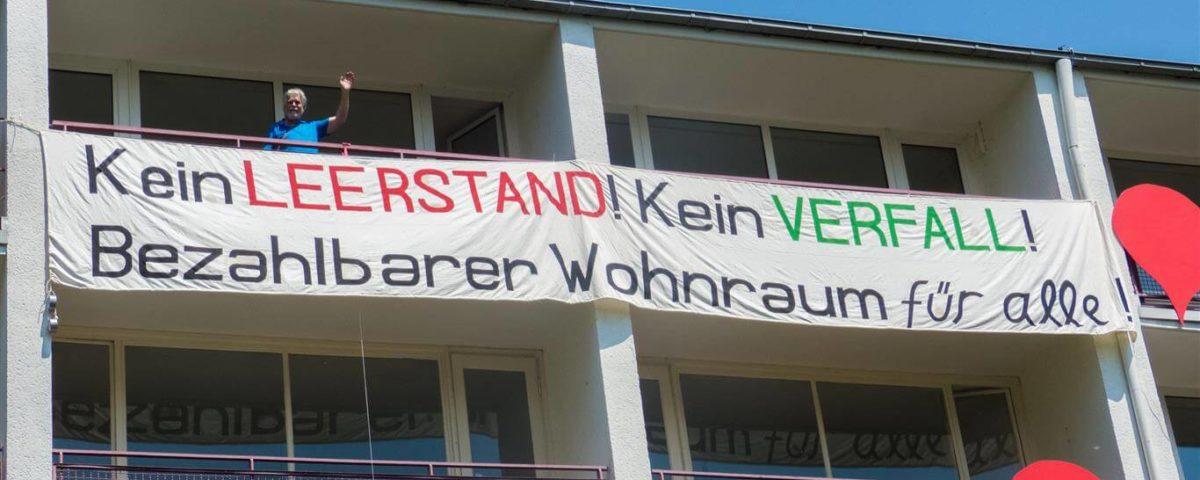Aktion gegen Wohnungsnot und Wohnungsleerstand in Tannenbusch