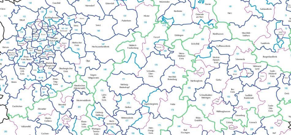 Karte der Wahlkreise in Deutschland